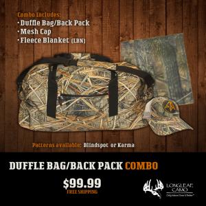 Duffle/Backpack, Blanket, Cap Combo - Longleaf Camo