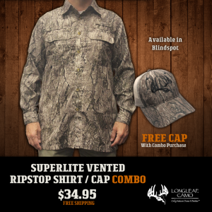 Superlite Vented Ripstop Shirt and Cap Combo - Longleaf Camo